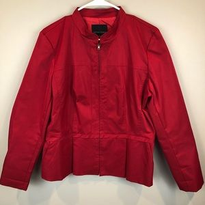 Cynthia Rowley Red Zip Front Casual Jacket